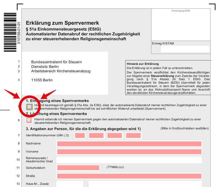 Screenshot zum Formular: Erläuterung zum Sperrvermerk